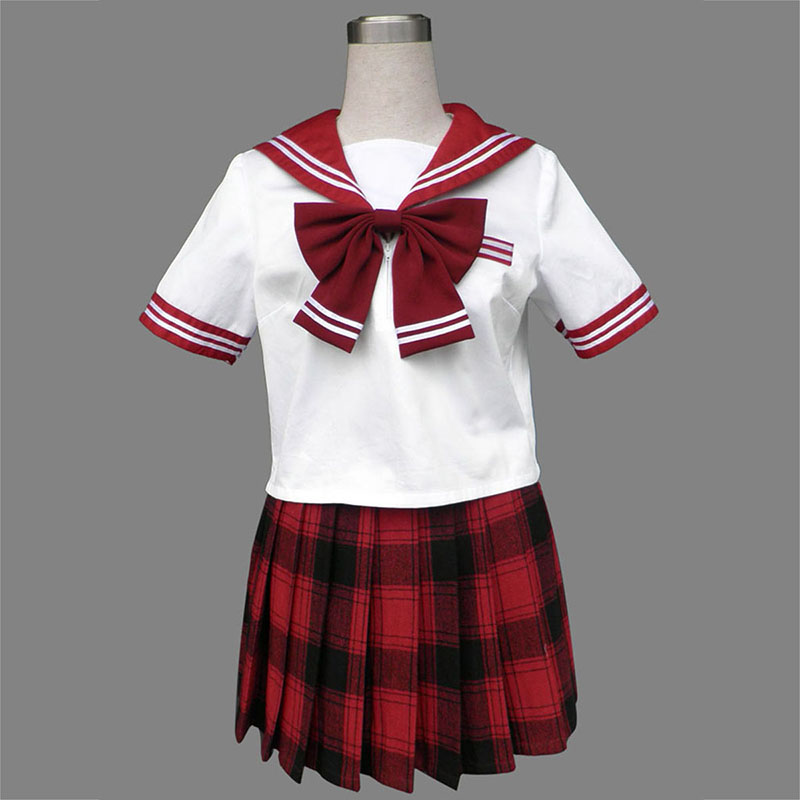 Sailor Uniform 6 Red Grid Cosplay Costumes Canada