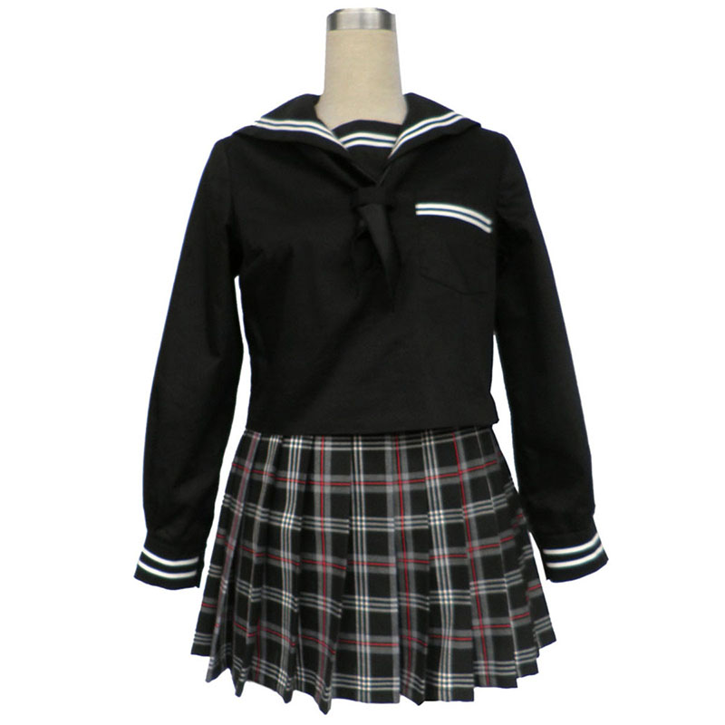 Sailor Uniform 7 Red Black Grid Cosplay Costumes Canada