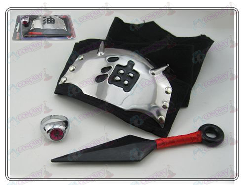 Naruto having no + ring + black oil headband (three-piece)