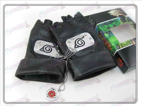 Naruto kakashi Gloves + write round eyes necklace (three-piece)