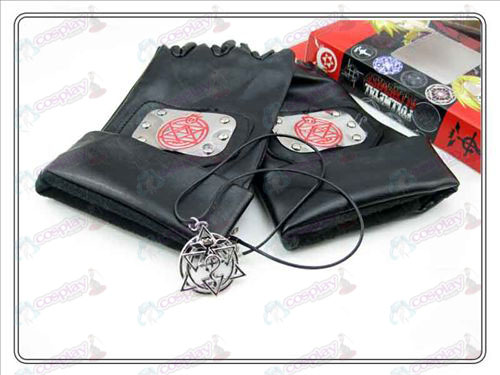 Steel Alchemist leather gloves + Lace Necklace (three-piece)