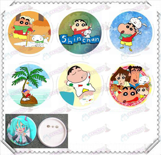 6 mounted 75MM light film badge-Crayon Shin-chan Accessories
