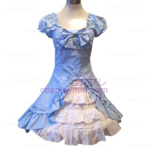 Classic Double Hemlines Blue Dress Lolita Cosplay Costume