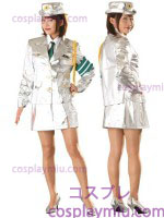 Futuristic Lady Five-Piece Police Uniform Costume in White
