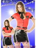 Sexy Lady Police Costume of Red Blouse and Black Miniskirt