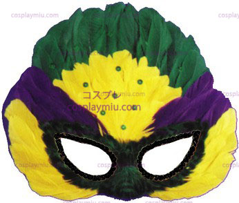 Mask Mardi Gras Sequin Feather