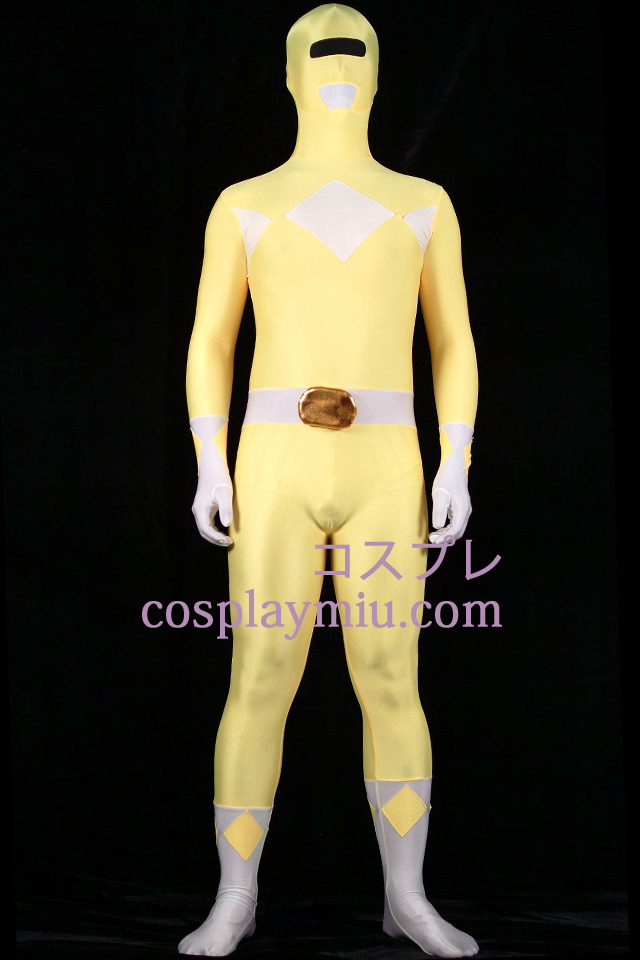 Yellow And White Lycra Spandex Unisex Zentai Suit