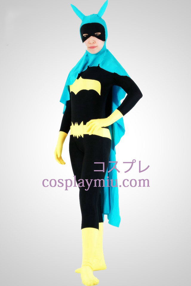 Bat Woman Lycra Superhero Zentai Suit With Cape