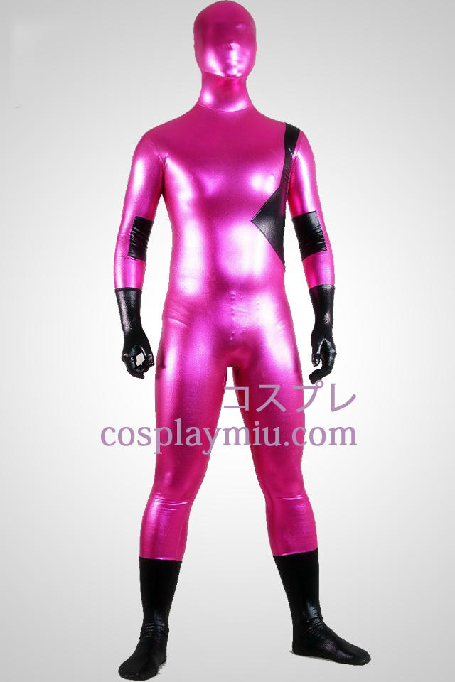Dark Pink And Black Shiny Metallic Unisex Zentai Suit