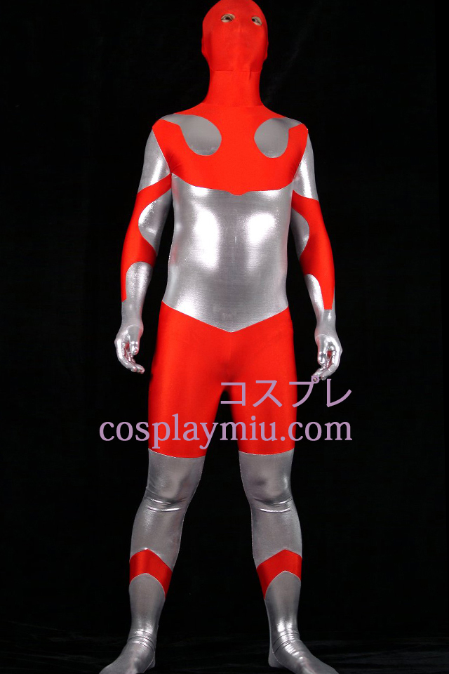 Red Lycra Spandex And Silver Shiny Metallic Unisex Zentai Suit