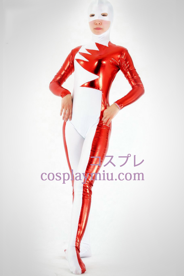 White Lycra Spandex And Red Shiny Metallic Open Mouth And Eyes Zentai