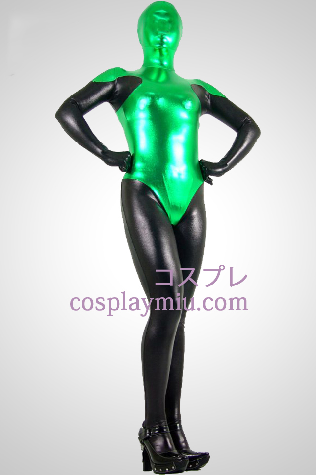 Black And Green Shiny Metallic Zentai Suit