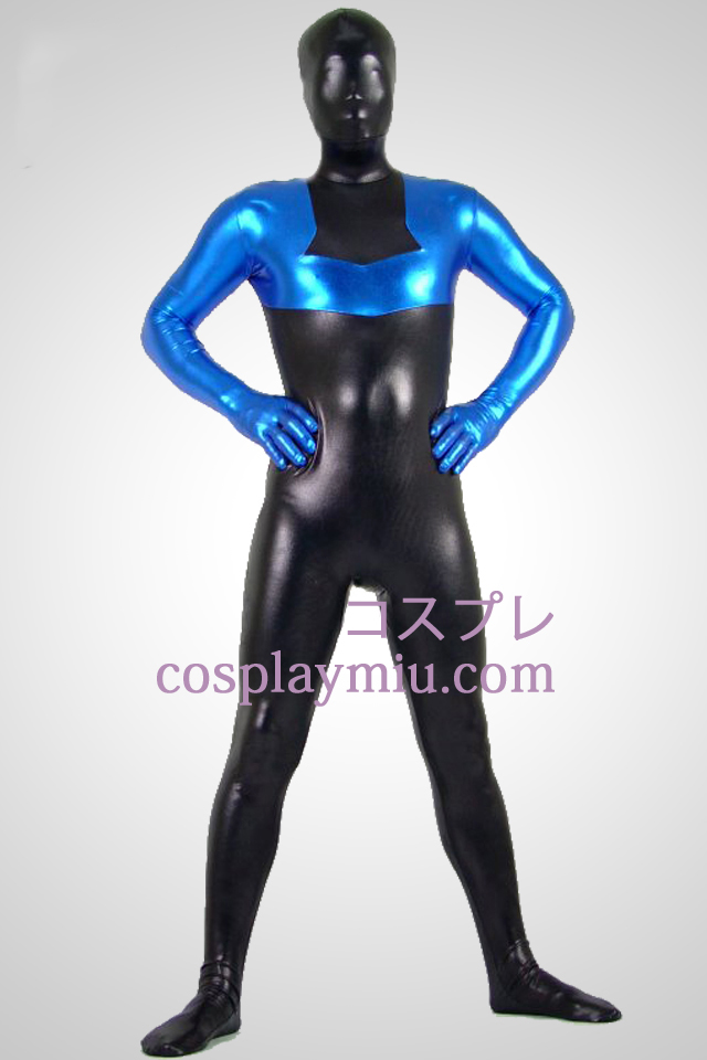 Black And Blue Shiny Metallic Zentai Suit