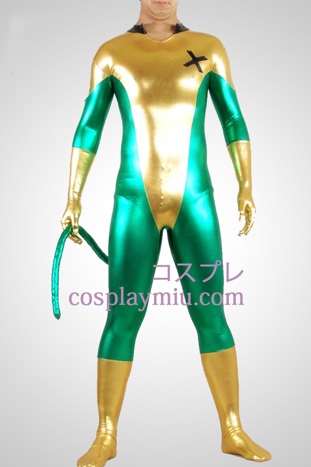 Shiny Metallic Green And Yellow Unisex Zentai Suit With Tail
