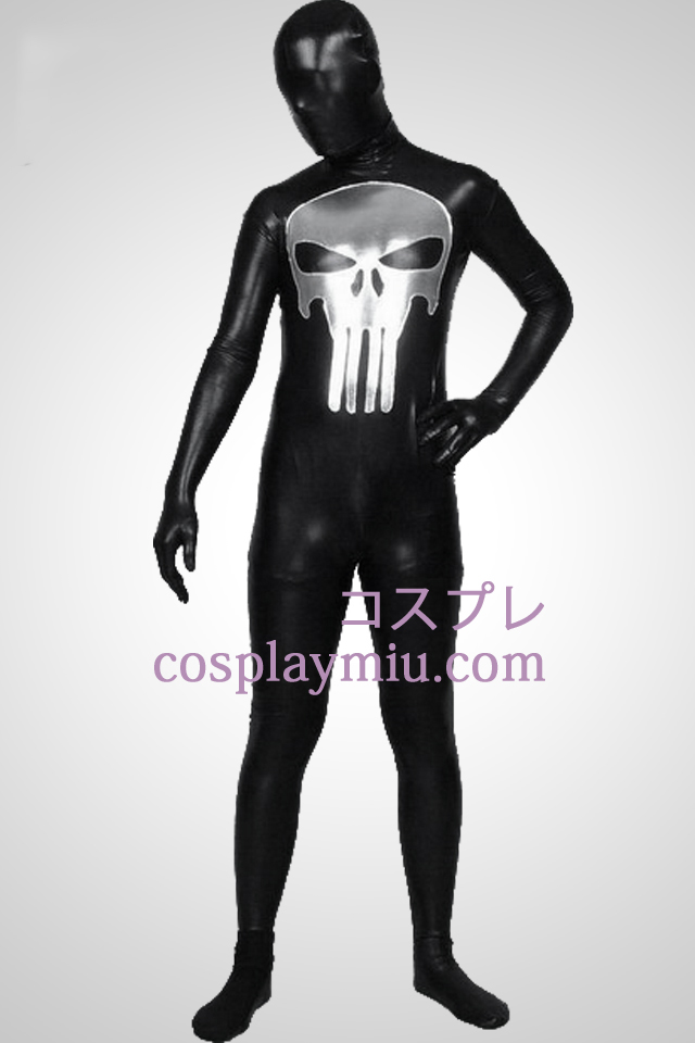 Black Shiny Metallic Punisher Pattern Zentai Suit